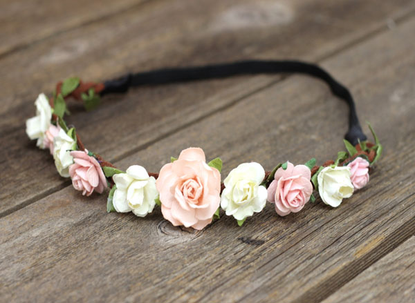 Peach Flower Headband Wedding Boho Forehead Headband Coachella Floral Crown